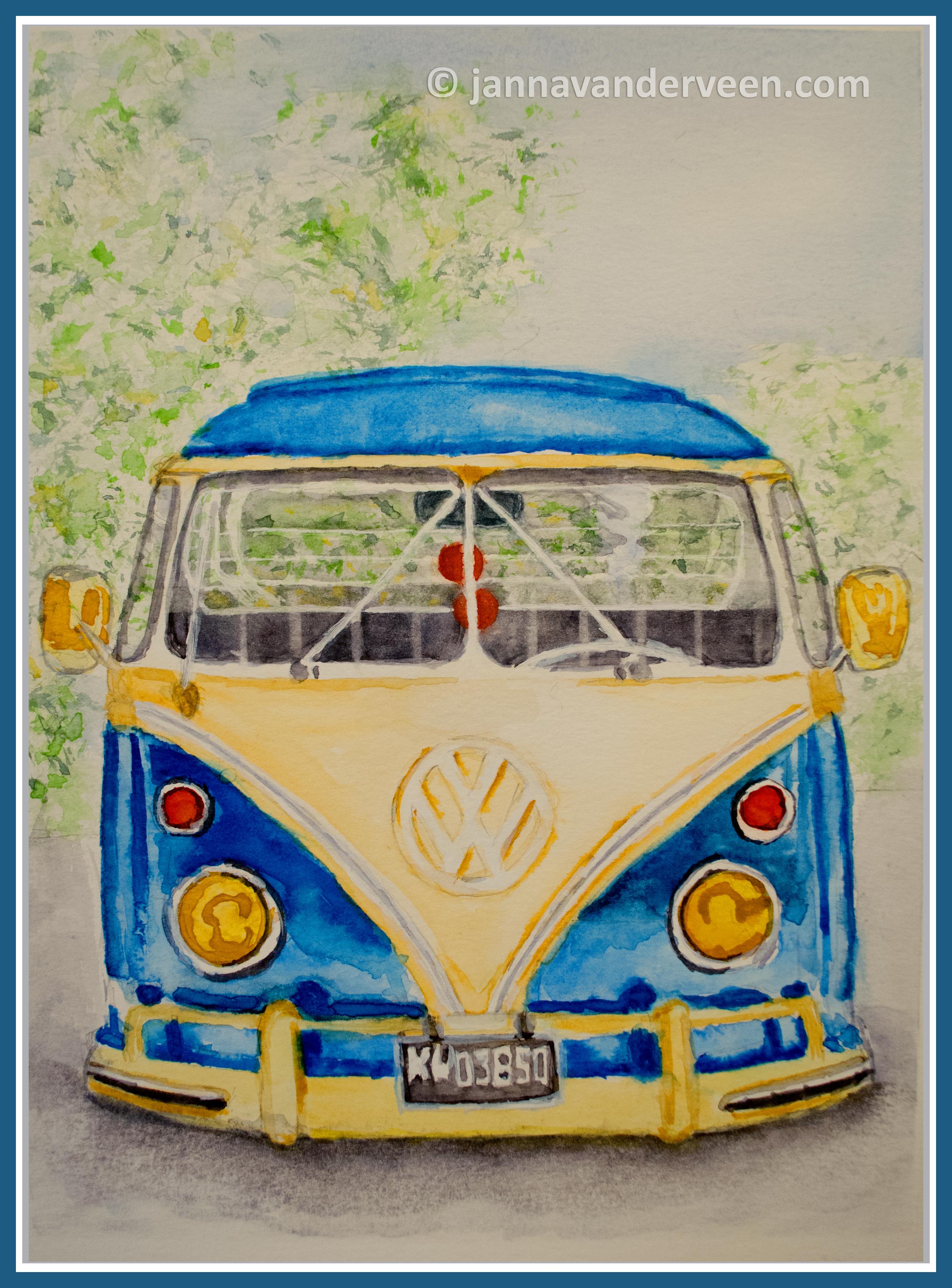 Watercolor Volkswagen Camper Van | JANNA VANDERVEEN