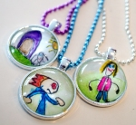 Watercolor pendant necklaces