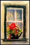Watercolor Window with Flowers