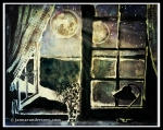 Watercolor Open Window at Night with Moons