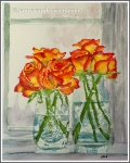 Watercolor Roses in Vase