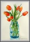 Tulips in Blue Vase