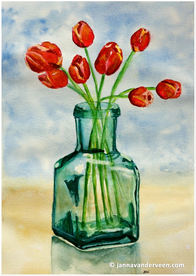 Tulips in Recycled Glass Vase3