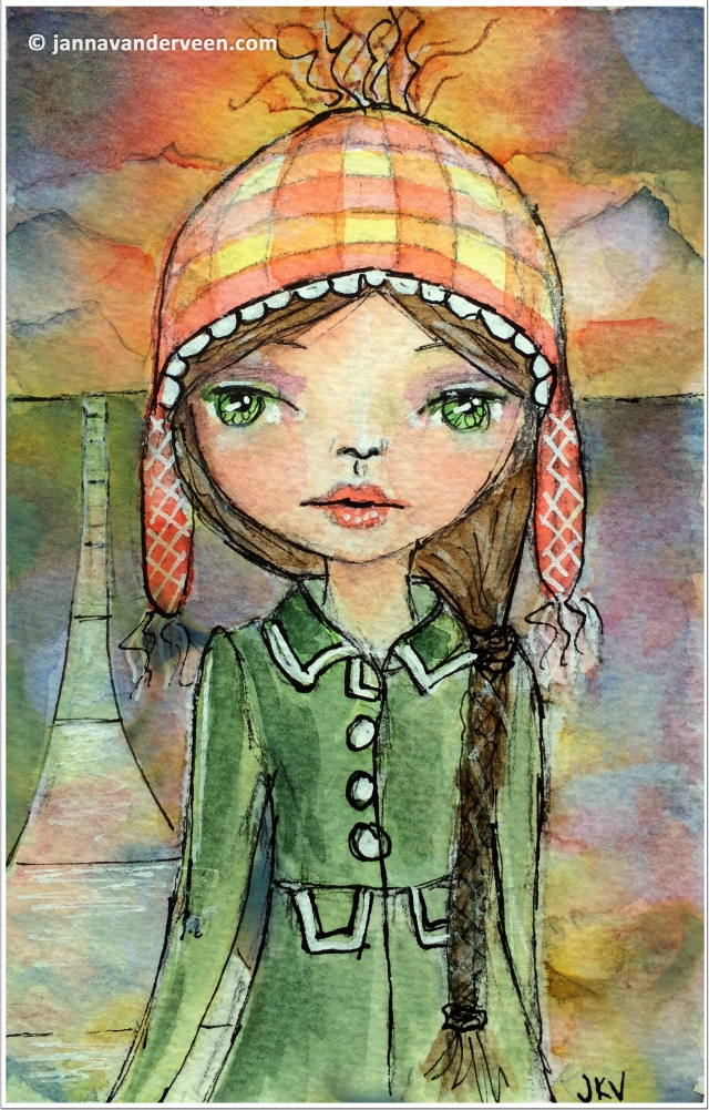 Studious Girl Watercolor